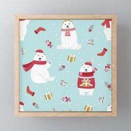 Cute Christmas Polar Bear Framed Mini Art Print