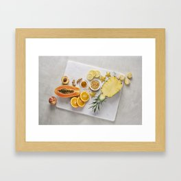Yellow and Orange Organic Fruits and Vegetables Framed Art Print