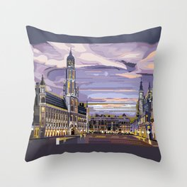 Brussels, Belgium pixel art Throw Pillow
