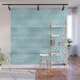 Gentle Blue Greek Meander Pattern on glass Wall Mural