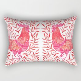 Le Coq – Watercolor Rooster with Red Leaves Rectangular Pillow
