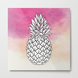 Watercolor Pineapple , pink Pineapple , tropical , hawaii , summer , fruit Metal Print
