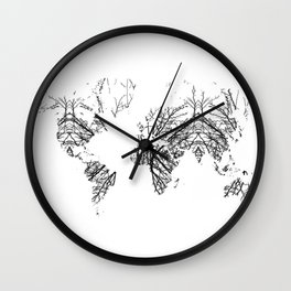 World Map by Fernanda Quilici Wall Clock