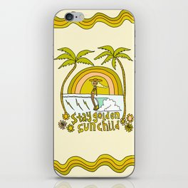 stay golden sun child //retro surf art by surfy birdy iPhone Skin