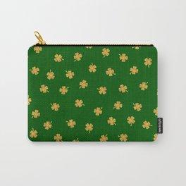 Golden Shamrocks Green Background Carry-All Pouch