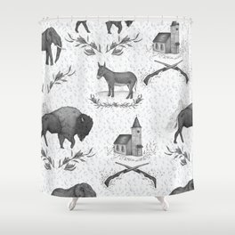 Political Toile Shower Curtain