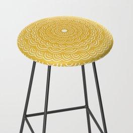 Spiral Mandala (Yellow Golden) Curve Round Rainbow Pattern Unique Minimalistic Vintage Zentangle Bar Stool