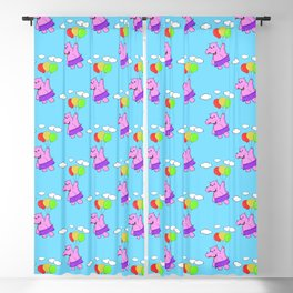 Pink Hippo Flying With Balloons In Blue Sky Blackout Curtain