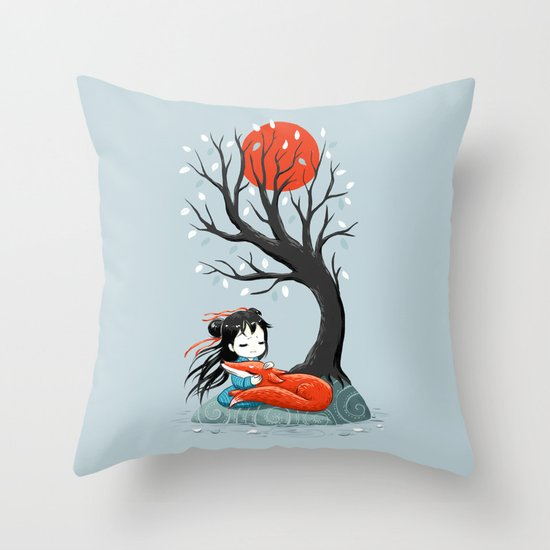 Girl and a Fox 2 Throw Pillow