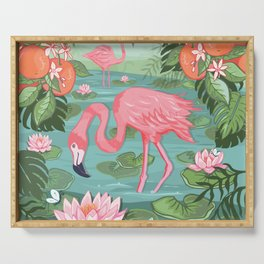Flamingo and Waterlily Serving Tray