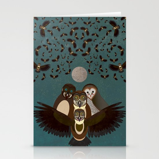 Owls in the Sky Stationery Cards