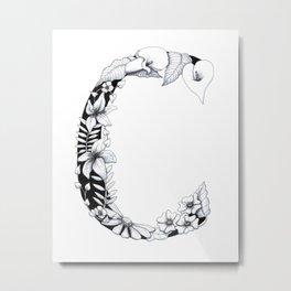 Floral Pen and Ink Letter C Metal Print