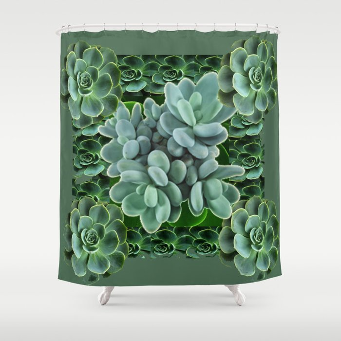 ARTISTIC GRAY GREEN SUCCULENT ART Shower Curtain