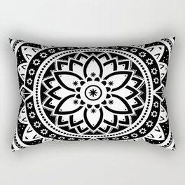 Black & White Patterned Flower Mandala Rectangular Pillow