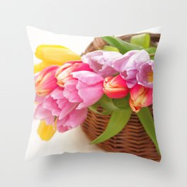 Tulip in a basket Throw Pillow