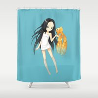 goldfish Shower Curtains featuring Goldfish by Freeminds