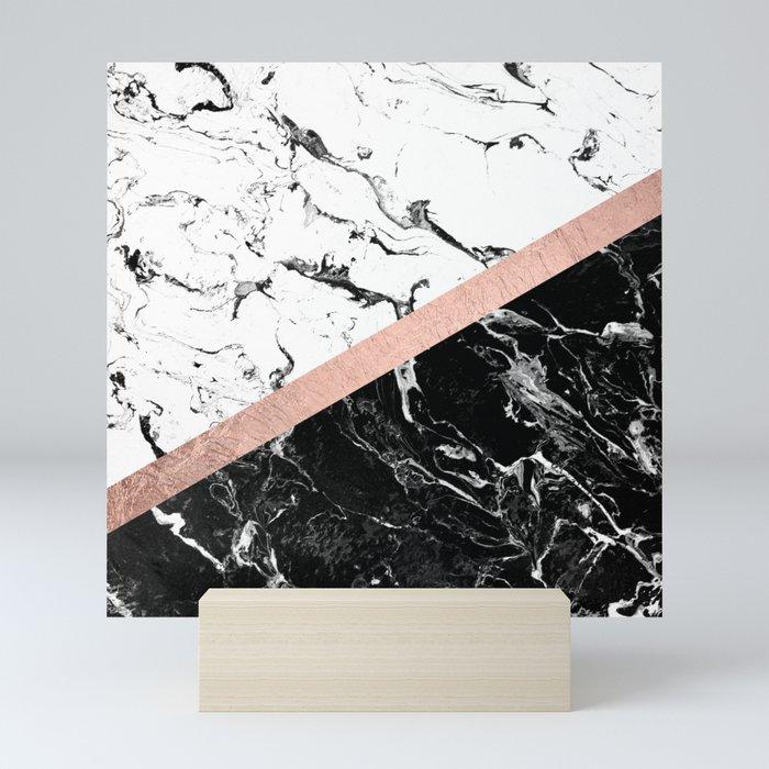 Modern black white marble color block rose gold Mini Art Print