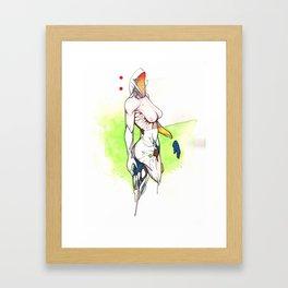 Alexandra Grace, Nude female surrealist drawing, NYC artist Framed Art Print