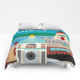 Halifax, Nova Scotia, Canada - Skyline Illustration by Loose Petals Comforters