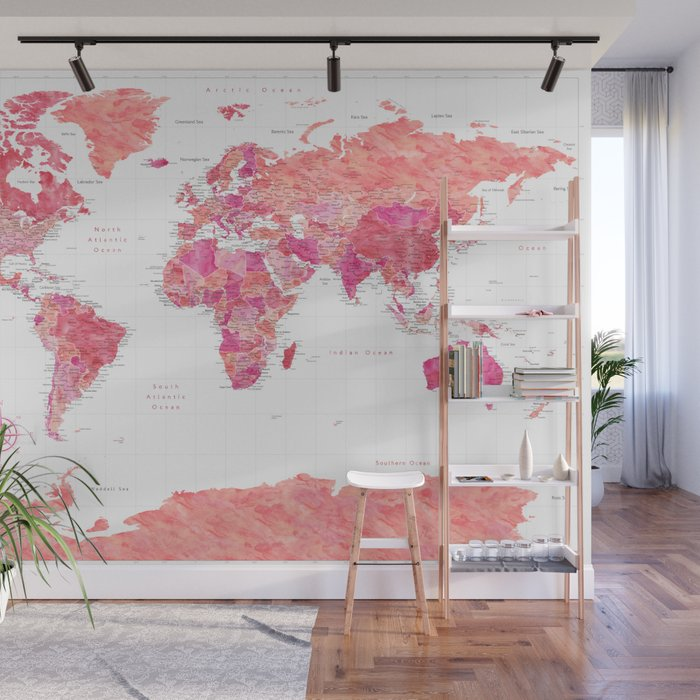 Highly detailed watercolor world map with Antarctica, Tatiana Wall Mural