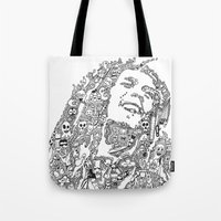 marley Tote Bags featuring Marley by Ron Goswami