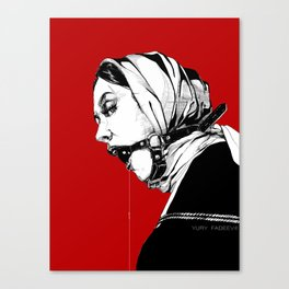 Lady Portrait on Red. Canvas Print