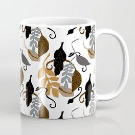 Gray Brown Black Leaves Pattern Coffee Mug