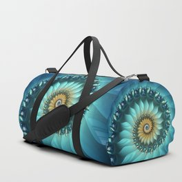 Mystical Gold and Blue Spiral Duffle Bag