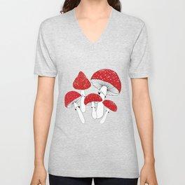 Red mushrooms field on navy blue Unisex V-Neck
