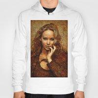 jennifer lawrence Hoodies featuring Portrait of Jennifer Lawrence by André Joseph Martin