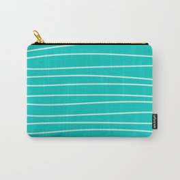 Turquoise Brush Stroke Lines Carry-All Pouch