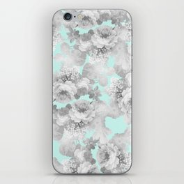 Vintage black white teal stylish chic roses floral iPhone Skin