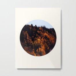 Mid Century Modern Round Circle Photo Graphic Design Autumn Orange Forest Hill Metal Print