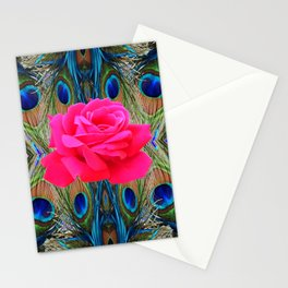FUCHSIA PINK ROSE & BLUE PEACOCK FEATHERS ART ABSTRACT Stationery Cards