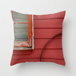 Colorful Red and Pantone Coral Building Exterior Throw Pillow