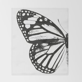 Monarch Butterfly | Left Butterfly Wing | Vintage Butterflies | Black and White | Throw Blanket