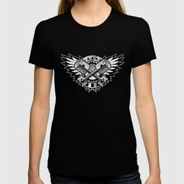 Crossed Pistons and Wings with Stars and Stripes Logo for the Car and Motorcycle Enthusiast T-shirt