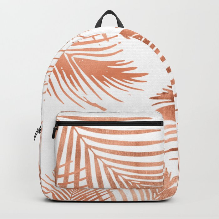 Rose Gold Palm Leaves Backpack