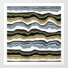 Stone Earth Limestone Abstract Landscape Lines Art Print