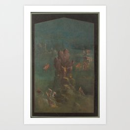 Wall painting Perseus and Andromeda in landscape, from the imperial villa at Boscotrecase,last decad Art Print