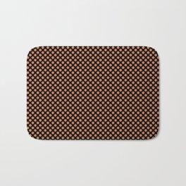 Black and Coral Gold Polka Dots Bath Mat