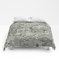 Comforters featuring dystopian toile mono by Sharon Turner