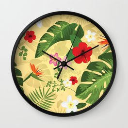 Tropical Flower Background 2 Wall Clock