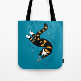 Weird Cat With Bone Hands Swimming Happily Tote Bag