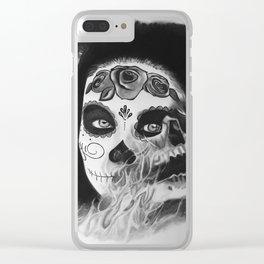 Sugar skull B&W Clear iPhone Case