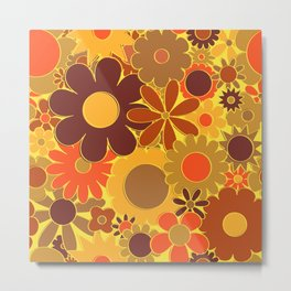 Funky Daisy Floral in Electric Orange Metal Print