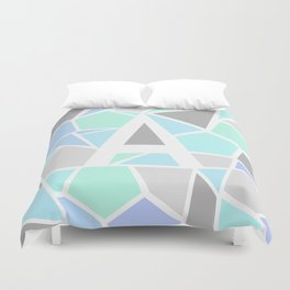 Letter A Geometric Shapes in Cool Colors Duvet Cover
