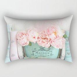 Paris Peonies Books Prints Aqua Pink Prints and Home Decor Rectangular Pillow