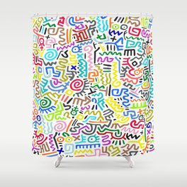 Doodle Pattern II Keith Haring Shower Curtain