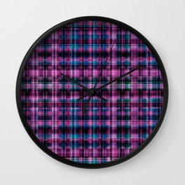 Electric Pink - Purple Plaid Wall Clock